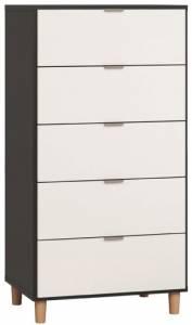 Συρταριέρα Simple ψηλή-Μαύρο - Λευκό