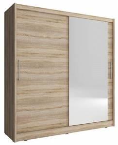 Ντουλάπα Malmo συρόμενη-200 x 62 x 214 εκ.-Φυσικό