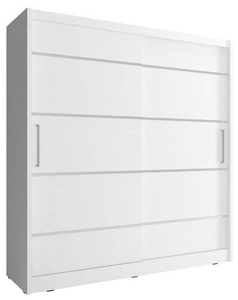 Ντουλάπα Maritina συρόμενη-180 x 62 x 200 εκ.-Λευκό