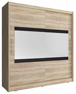 Ντουλάπα Mallory συρόμενη-180 x 62 x 200 εκ.-Φυσικό
