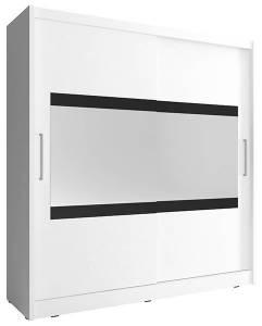 Ντουλάπα Mallory συρόμενη-200 x 62 x 214 εκ.-Λευκό