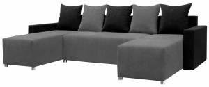 Γωνιακός καναπές Fedora-Γκρι - Μαύρο
