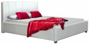 Επενδυμένο κρεβάτι Lingo-160 x 200-Λευκό-Χωρίς μηχανισμό ανύψωσης
