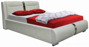 Επενδυμένο κρεβάτι Baron-160 x 200-Λευκό-Χωρίς μηχανισμό ανύψωσης