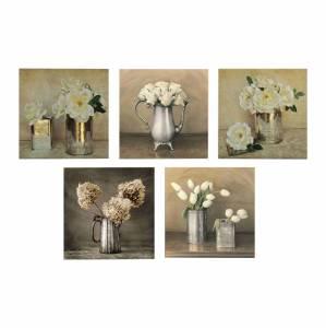 ΠΙΝΑΚΑΣ ΠΕΝΤΑΠΤΥΧΟ MDF ROMANTIC FLOWERS 75X0,3X15 εκ.