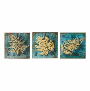 ΠΙΝΑΚΑΣ ΚΑΜΒΑΣ ΤΡΙΠΤΥΧΟ GOLDEN TROPICAL LEAVES HM7200.02  90Χ3Χ30 εκ.