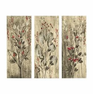 ΠΙΝΑΚΑΣ ΤΡΙΠΤΥΧΟ MDF RED FLOWERS AND BERRIES HM7204.01 60x50x0,3 εκ.