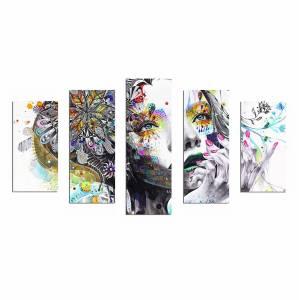 ΠΕΝΤΑΠΤΥΧΟΣ ΠΙΝΑΚΑΣ MDF MODERN DAZZLING BEAUTY GIRL FACE HM7206.04 100X60x3 εκ.