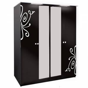 Τετράφυλλη ντουλάπα -Μαύρο