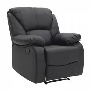 Πολυθρόνα Salina pakoworld ανοιγόμενη με PU χρώμα μαύρο