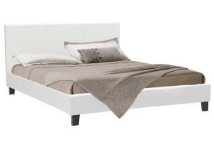 Κρεβάτι Nevil pakoworld διπλό 150x200 PU χρώμα λευκό ματ με ανατομικές τάβλες