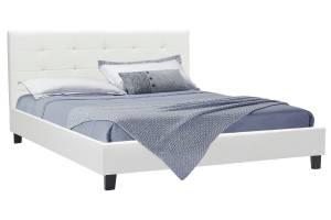 Κρεβάτι Desi pakoworld διπλό 160x200 PU χρώμα λευκό ματ με ανατομικές τάβλες