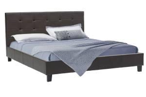 Κρεβάτι Desi διπλό 160x200 PU σκούρο καφέ ματ με ανατομικές τάβλες