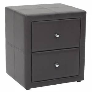 Κομοδίνο Como pakoworld με δύο συρτάρια PU χρώμα σκούρο καφέ ματ 47x42x53εκ