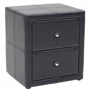 Κομοδίνο Como pakoworld με δύο συρτάρια PU χρώμα μαύρο ματ 47x42x53εκ