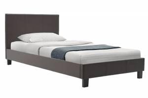 Κρεβάτι Nevil pakoworld μονό 100x200 PU σκούρο καφέ ματ με ανατομικές τάβλες