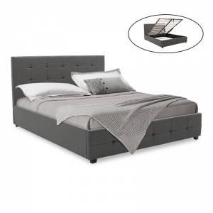 Κρεβάτι Roi pakoworld διπλό 160x200 ύφασμα ανθρακί + αποθηκευτικό χώρο με ανατομικές τάβλες
