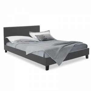 Κρεβάτι Nevil pakoworld διπλό 150x200 με ύφασμα χρώμα ανθρακί με ανατομικές τάβλες