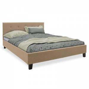 Κρεβάτι Mago pakoworld διπλό ύφασμα μπεζ 150x200εκ