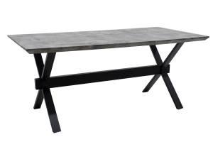 Τραπέζι Evora pakoworld επιφάνεια MDF γκρι Cement -πόδι μεταλλικό μαύρο 180x90x75εκ