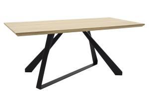 Τραπέζι Soho pakoworld επιφάνεια MDF χρώμα sonoma-πόδι μεταλλικό μαύρο 180x90x75εκ