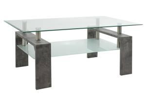 Τραπέζι σαλονιού Maiha pakoworld γυαλί χρώμα ποδιών γκρι cement 100x60x42,5εκ