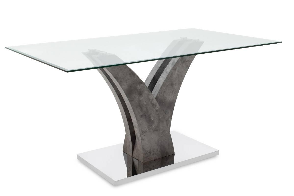 Tραπέζι Gull γυαλί 10mm tempered-πόδι χρώμα γκρι cement 150x90x76εκ