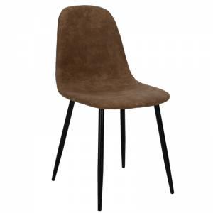 Καρέκλα Bella μεταλλική μαύρη με pu antique καφέ