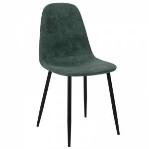 Καρέκλα Bella pakoworld μεταλλική μαύρη με pu antique πετρόλ