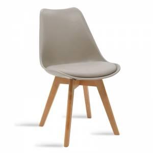 Καρέκλα Gaston pakoworld πολυπροπυλενίου-PU χρώμα γκρι - φυσικό