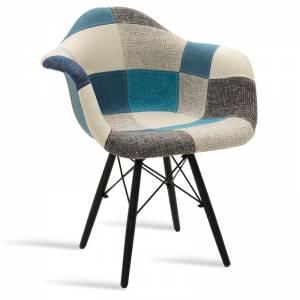 Πολυθρόνα Julita pakoworld πολυπροπυλενίου με ύφασμα patchwork μπλε γκρι μαύρο
