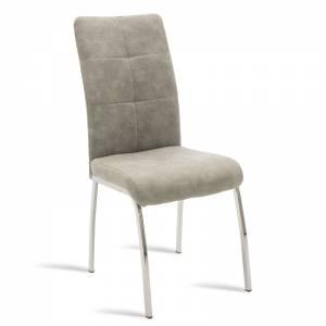 Καρέκλα Ariadne pakoworld μεταλλική χρωμίου με pu γκρι