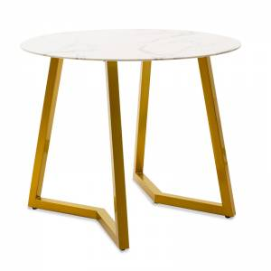 Τραπέζι Paris pakoworld στρόγγυλο γυαλί 8mm σχέδιο μαρμάρου-χρυσό Φ90x75εκ