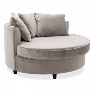Πολυθρόνα-καναπές Ophelia pakoworld βελούδο γκρι 123x120x85εκ