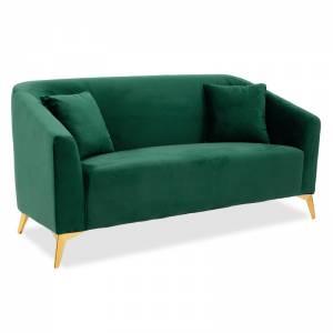 Καναπές 2θέσιος Pax pakoworld με βελούδο σκούρο πράσινο 143x77x82εκ