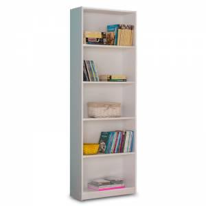 Βιβλιοθήκη Max pakoworld σε λευκό χρώμα 58x23x170εκ