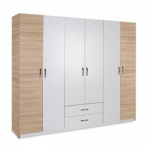 Ντουλάπα ρούχων Drum pakoworld εξάφυλλη με συρτάρια χρώμα φυσικό-λευκό 240x53x209εκ