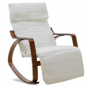 Πολυθρόνα Elma κουνιστή με υποπόδιο σε λευκό ύφασμα και καρυδί ξύλο
