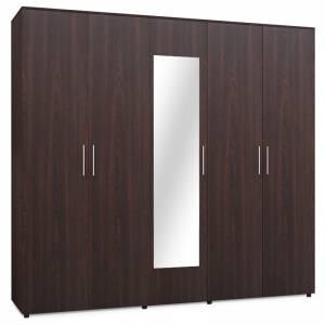 Ντουλάπα ρούχων Luna pakoworld πεντάφυλλη με καθρέπτη χρώμα wenge 220x52x200