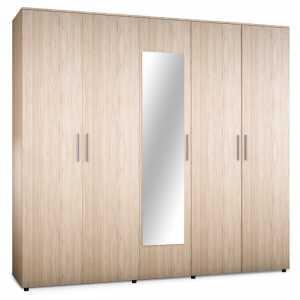 Ντουλάπα ρούχων Luna pakoworld πεντάφυλλη με καθρέφτη σε χρώμα astra 220x52x200