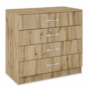 Συρταριέρα Deco pakoworld με τέσσερα συρτάρια χρώμα sonoma 80x43,5x76εκ