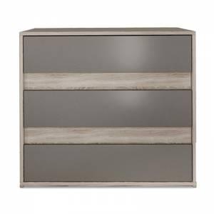 Συρταριέρα Stillness pakoworld με τρία συρτάρια χρώμα sonoma-μόκα 80x45x70εκ