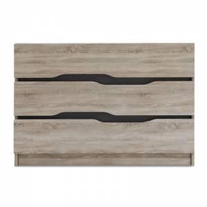 Συρταριέρα Comfy pakoworld με τρία συρτάρια χρώμα sonoma-ανθρακί 100x38,5x71εκ