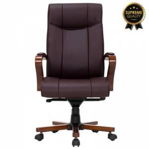 Καρέκλα γραφείου διευθυντή Kansas SUPREME QUALITY ξύλο-pu σκούρο καφέ