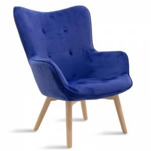 Πολυθρόνα Kido pakoworld υφασμάτινη βελούδο χρώμα μπλε