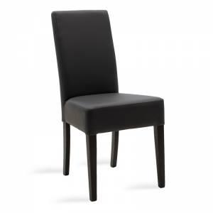Καρέκλα Ditta pakoworld ανθρακί τεχνόδερμα - πόδια ξύλο μασίφ wenge