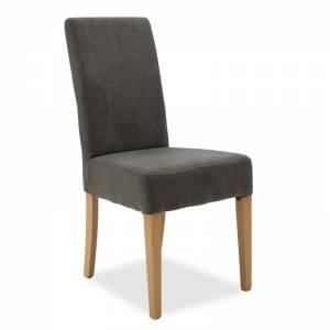 Καρέκλα Ditta pakoworld ανθρακί ύφασμα - πόδια ξύλο μασίφ sonoma