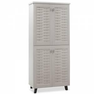 Παπουτσοθήκη-ντουλάπα MANTAM pakoworld 24 ζεύγων χρώμα λευκό γκρι 78x40x170,5εκ