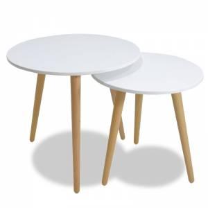 Βοηθητικά τραπέζια σαλονιού SMITH pakoworld σετ 2τμχ χρώμα λευκό ματ-φυσικό