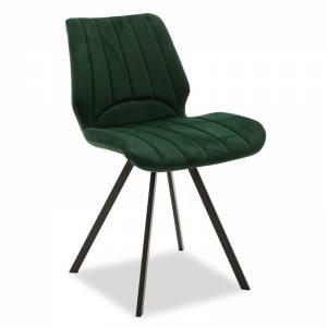 Καρέκλα Sabia pakoworld μεταλλική μαύρη με ύφασμα βελουτέ κυπαρισσί